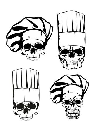 illustration skull in toque set Stock Illustratie