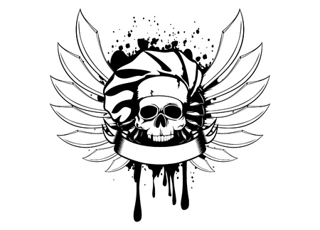 illustration skull of cook with knifes Vector