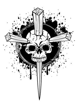 illustration punched skull wooden wedges