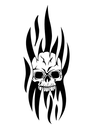 ghost rock:   illustration skull tribal