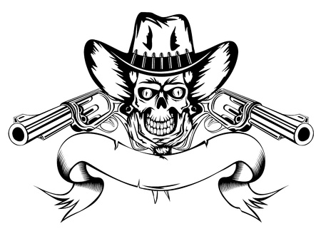 Vector  illustration human skull in cowboys hat and two revolvers