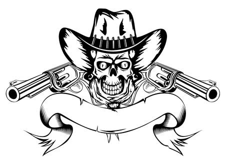 hooligan: Vector illustration menschlichen Sch�del in Cowboy-Hut und zwei Revolvern