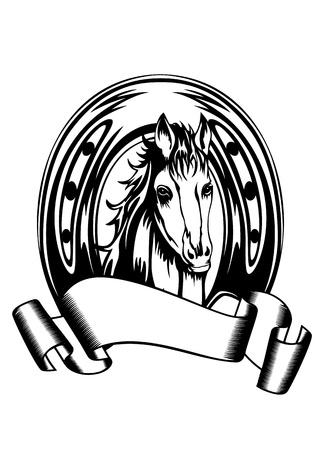 uomo a cavallo: Vettore, illustrazione, testa di cavallo in ferro di cavallo