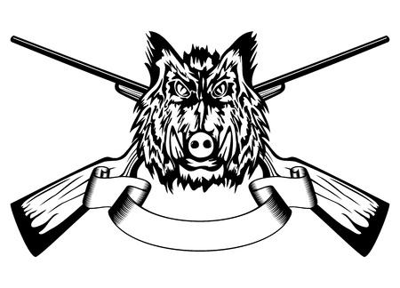 Vector illustratie, hoofd wilde zwijnen en gekruiste geweren Vector Illustratie