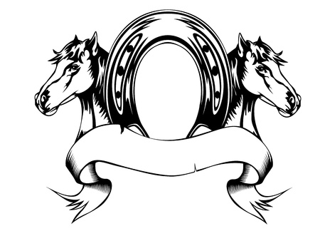 horse riding: Vector  illustration heads horses and horse shoe