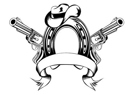geweer: Vector illustratie twee revolvers, hoefijzer en cowboy hoed