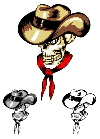 Vector image of skull in cowboys hat  Vector