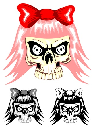 punk hair: Vector illustration skull emo with red bow
