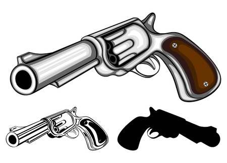 gangster with gun: illustration revolvers (colored, black-and-white and silhouette)