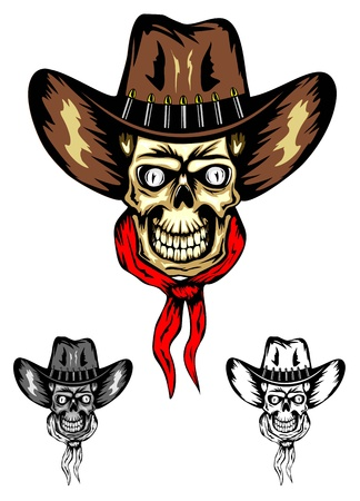 image of skull in cowboy's hat  Vector
