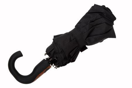 Black umbrella from rain on white background Stock Photo - 16480855