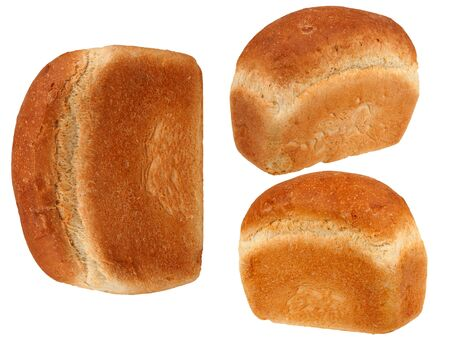 Bread set on white background photo