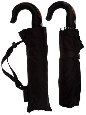 Black umbrella from rain on white background Stock Photo - 16597984