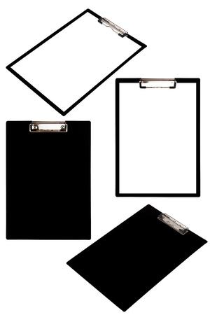 Black clipboard set isolated on white background photo