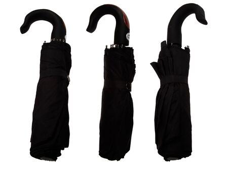 Black umbrella from rain on white background Stock Photo - 16726352
