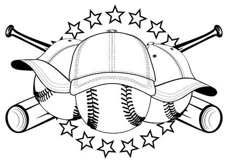 그림 야구 모자에 공 및 교차 박쥐와 별 일러스트