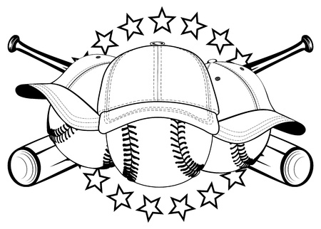 illustration baseball balls in hats and crossed bats and stars