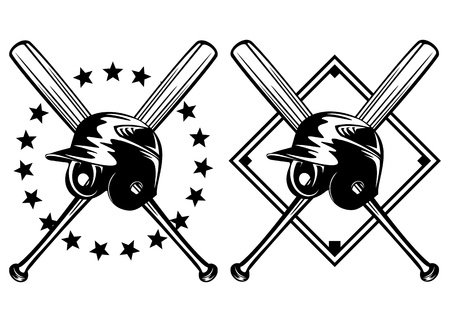 baseball cartoon: illustration baseball helmet and crossed bats set