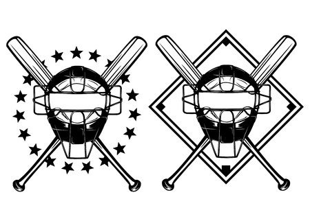 ballpark: illustration baseball mask and crossed bats set