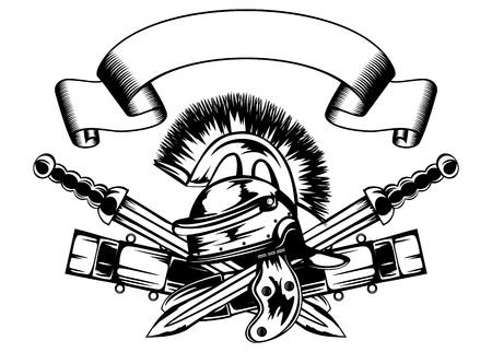 illustratie legionair helm en gekruiste zwaarden Vector Illustratie