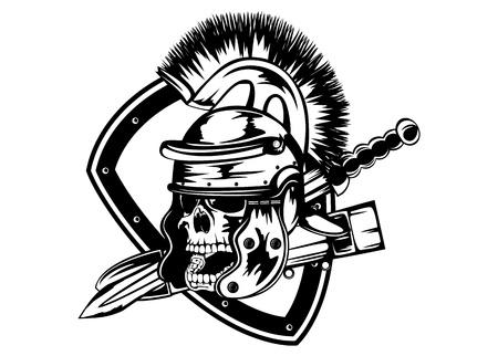 cascos romanos: ilustración del cráneo en casco legionario y la espada