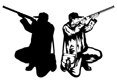 hombre disparando: ilustración cazador con rifle y la silueta