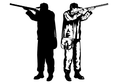 hunter man: illustration hunter with rifle and silhouette