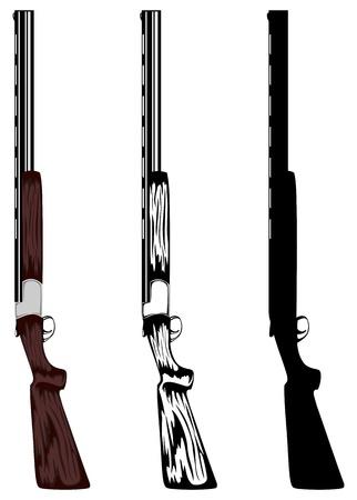 illustration chasses fusil de couleur, noir et blanc, silhouette