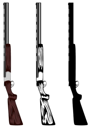 man with gun: illustration huntings rifle colored, black and white, silhouette Illustration