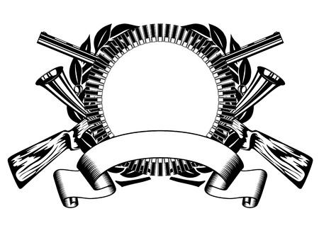 fusil de chasse: illustration chasses cadre avec la balle et le fusil crois� Illustration