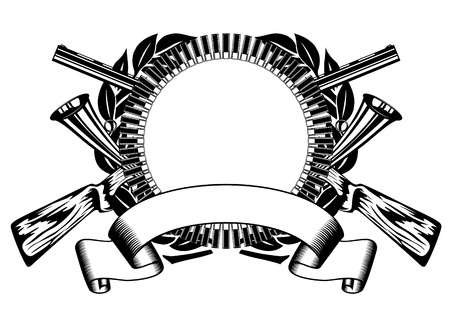 illustrazione cacce telaio con proiettile e fucile incrociati