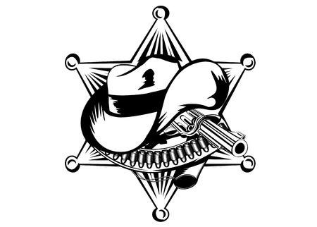 sheriffs: illustration sheriffs star hat and revolver