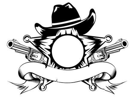 cowboy gun: illustration sheriffs star hat and revolvers