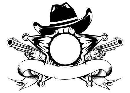sheriffs ilustración sombrero estrella y revólveres