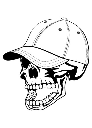 illustration skull in baseball hat isolated on withe background Vector