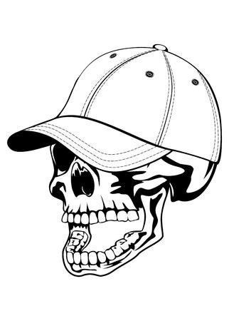baseball hat: illustration skull in baseball hat isolated on withe background
