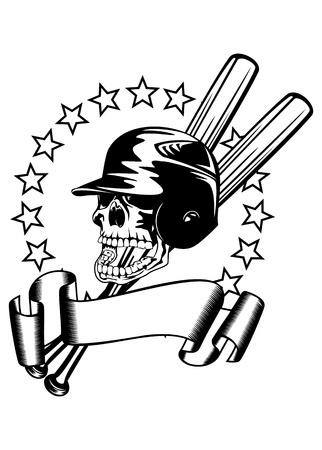 illustration skull in baseball helmet, bats, stars and baner Stock Vector - 18255527