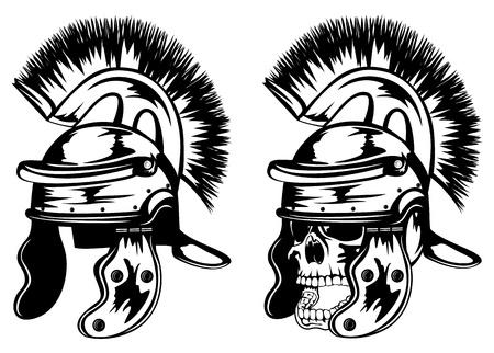 roman empire: illustration skull in legionary helmet Illustration