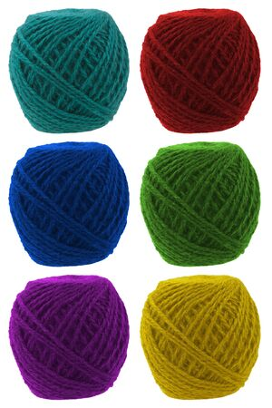 Tangle of knitting yarn set different colors photo