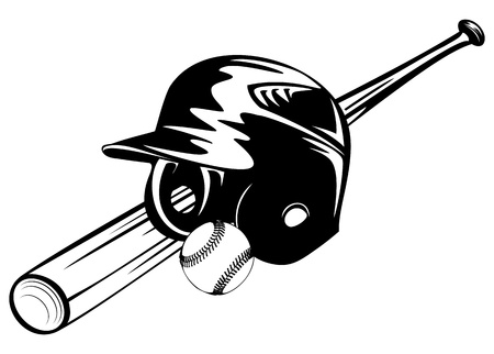 Vector illustration baseball helmet, ball and bat  Çizim