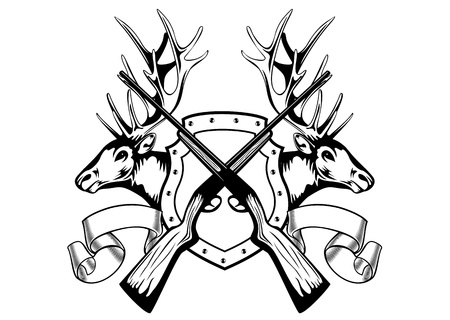 deer hunting: Vector image board crossed guns and elk heads