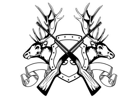 roe deer: Vector image board crossed guns and elk heads