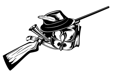 hat with feather: Vector  illustration hunting gun, hat, knife and horn