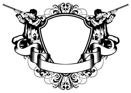gun shell: Ilustraci�n vectorial marco cazas con patrones