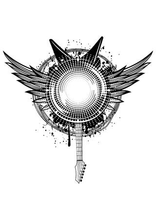 heavy metal music: Illustrazione vettoriale ali, chitarre e filo spinato