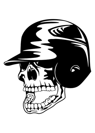 Vector illustration skull in baseball helmet  Vector