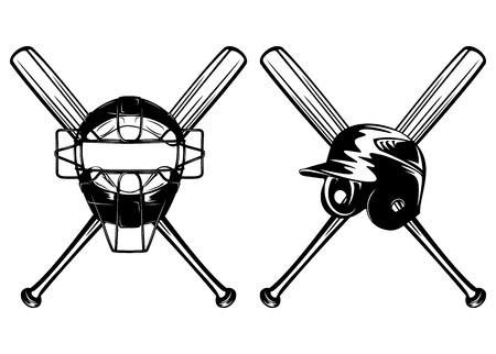 baseball bat: Illustration baseball helmet, mask and crossed bats set