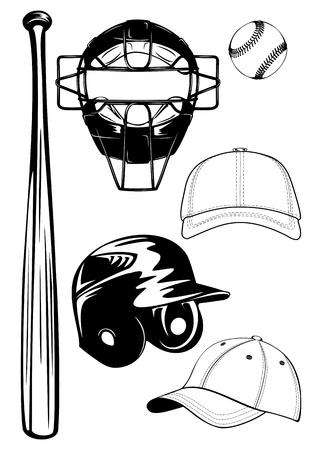 Illustration baseball helmet, bat, cap, ball, mask set Vector Illustration