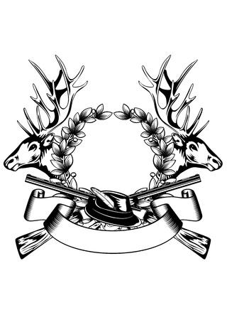 deer hunter: Illustration elk hedas oak wreath and crossed gun