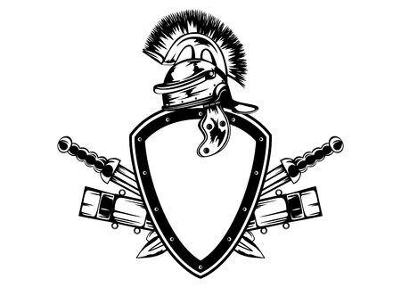 crossed swords: Vector ilustraci�n marco con el casco de legionario y espadas cruzadas